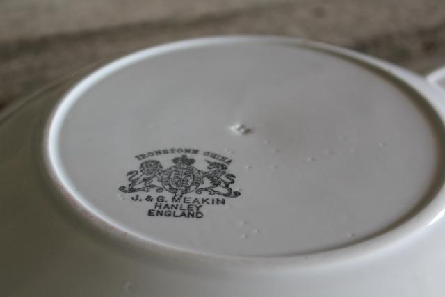 antique heavy white ironstone china plates, old English