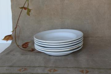 antique heavy white ironstone china soup bowls, vintage Wedgwood etc English marks