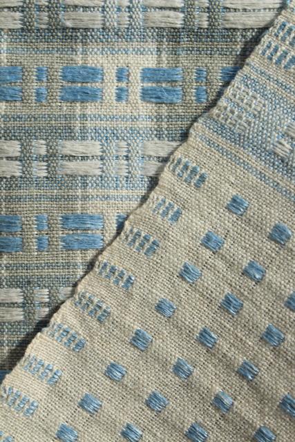 Antique Homespun Hand Woven Linen Tablecloth, Vintage Farmhouse Blue U0026 White  Unbleached Flax