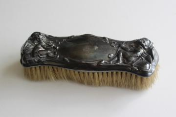 antique horsehair clothes brush, ornate silver plate w/ cherubs, vanity set brush
