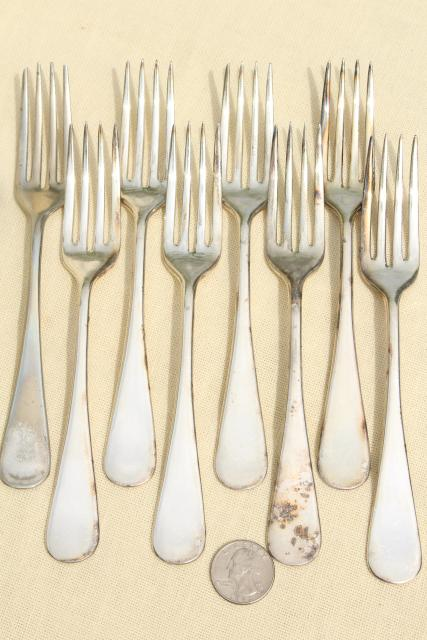 antique hotel silver, art deco vintage silverplate flatware set of salad forks