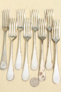 antique hotel silver, art deco vintage silverplate flatware set of salad forks