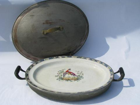 antique huge copper covered warming platter, pheasant design for game