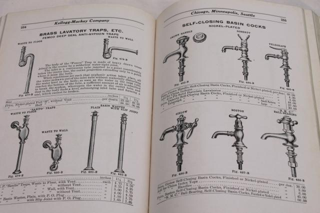 antique illustrated industrial catalog book of home / factory plumbing hardware, vintage 1913