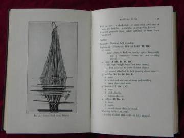 antique illustrated textbook yarn/cloth making and textile weaving