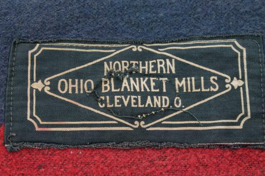 antique indigo blue & red camp blanket or lap robe, Ohio Blanket Mills labels