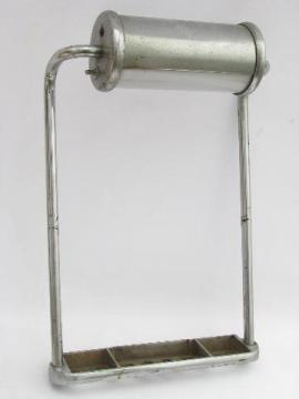 antique industrial chrome canister light on stand, vintage dentist cabinet or lab lamp