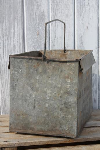 antique industrial galvanized zinc bucket for shabby vintage garden flower box