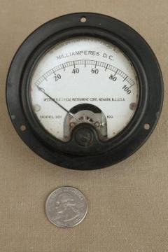 antique industrial gauge, steampunk vintage bakelite Weston ammeter