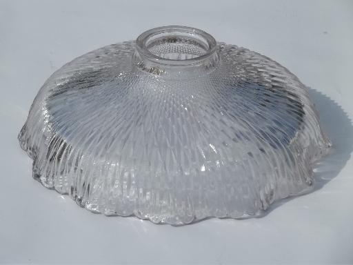 antique industrial light shade, holophane type  prismatic ribbed glass shade