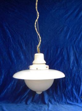 antique industrial pendant light w/glass reflector shade, 1917 patent