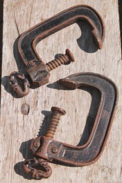antique industrial tool woodworking or machinist's clamps, iron skeleton key turn screw clamps