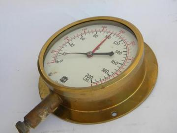 antique industrial vintage marine ships engine steam gauge w/solid brass case
