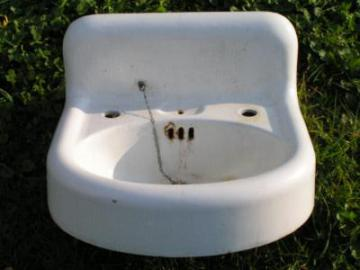 antique iron and porcelain lavatory sink