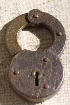 antique iron & brass padlock, 1800s vintage Eagle lock, locked without key