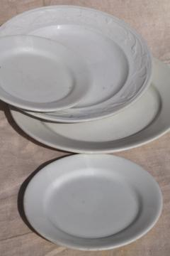 antique ironstone china plates, plain white Wedgwood & embossed lily morning glory vine