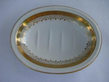 antique ironstone china soap dish, early 1900s vintage porcelain soapdish