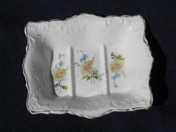 antique ironstone china soap dish, wildflowers pattern transferware