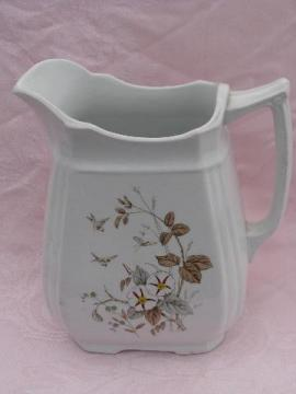antique ironstone china wash pitcher, transferware morning golries
