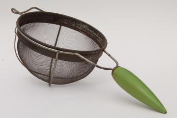 antique kitchen strainer, 20s 30s vintage art deco kitchenware, wood torpedo handle sieve