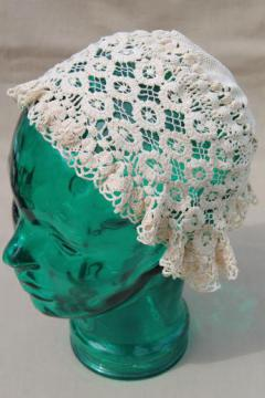 antique lace cap, Victorian vintage lady's cap of handmade needle lace or crochet