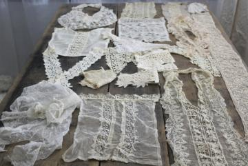 antique lace lot Victorian Edwardian vintage French lace dress trims - collars, cuffs, bibs