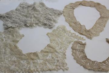 antique lace lot Victorian Edwardian vintage French lace dress trims - high neck collar etc.