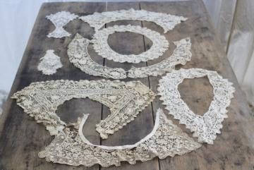 antique lace lot Victorian Edwardian vintage French lace dress trims - round collars, jabots