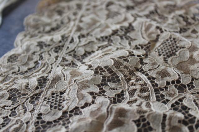 antique lace lot Victorian Edwardian vintage dress trims - high neck collar, French lace