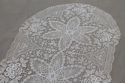Antique Lace Table Runner Or Dresser Scarf Early 1900s Vintage Schiffli