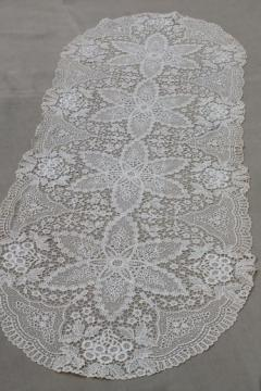 antique lace table runner or dresser scarf, early 1900s vintage Schiffli lace?