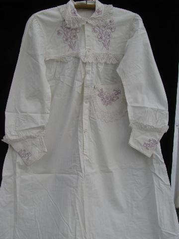 antique lace trimmed embroidered cotton wedding apron, nightdress
