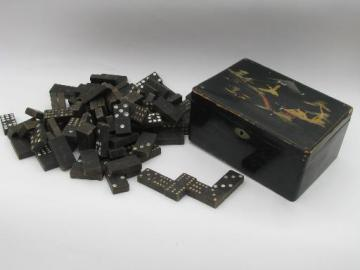 antique lacquerware wood box and dominoes, old game pieces parts domino tiles
