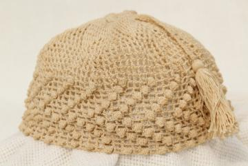 antique ladies night cap or hair net cover, early 1900s vintage fez tasseled hat crochet cotton lace
