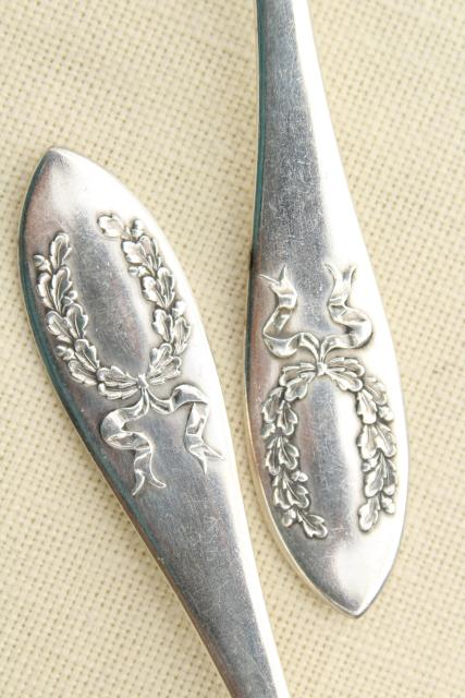 antique laurel wreath teaspoons, Marjorie Nell pattern vintage silver Rockford
