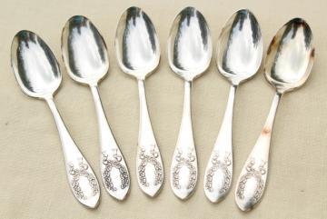 antique laurel wreath teaspoons, Marjorie Nell pattern vintage silver Rockford