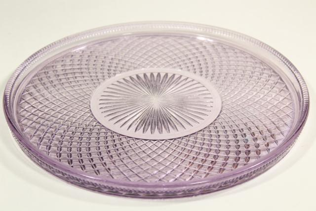 antique lavender glass cake plate or serving tray, English hobnail waffle block EAPG<