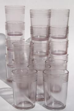 antique lavender glass jelly glasses, early 1900s vintage tumbler jars for jam & jellies