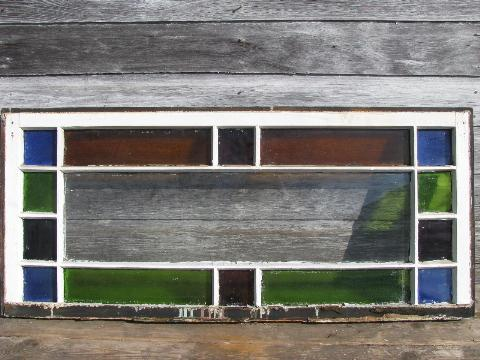 Antique Leaded Stained Glass Window Original Vintage Wood