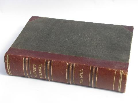 antique leather & cloth bound book, Harper's monthly magazine 1878-9