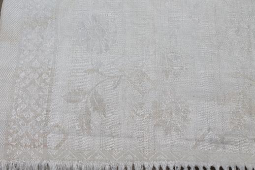 antique linen damask cloth towel with elaborate drawn thread work, vintage farmhouse table runner