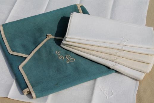 antique linen damask dinner napkins w whitework embroidered letter l monogram