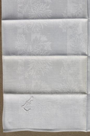 antique linen damask dinner napkins w   whitework embroidered letter l monogram