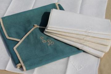 antique linen damask dinner napkins w/ whitework embroidered letter L monogram