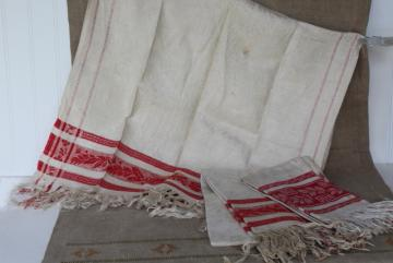 antique linen turkish towels circa 1890s, turkey red woven damask borders w/ fringe