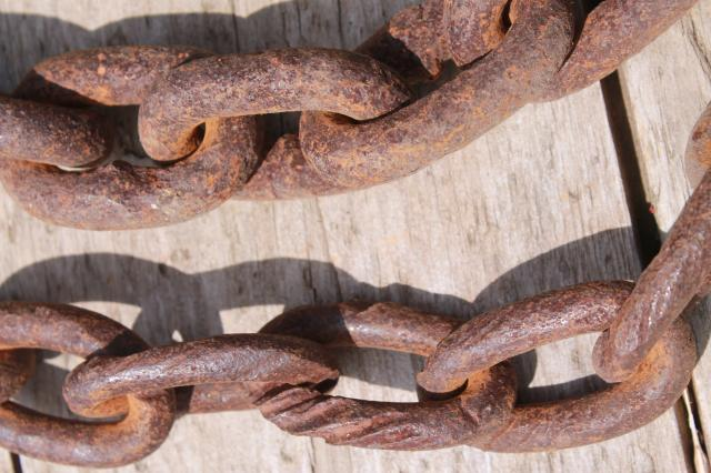 Antique Hand Forged Chain : Antique logging chain w large hand forged iron ring farm