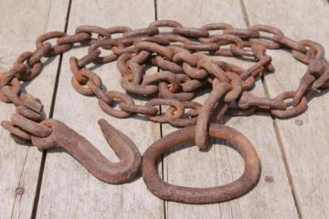 antique logging chain w/ large hand forged iron ring farm tool for towing, skiding & stump pulling