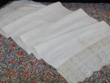 antique long cotton pillow case, bolster cover w/ wide crochet lace