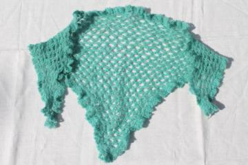 antique lover's knot lace shawl, Jane Austen style knitted wool kerchief or shawlette