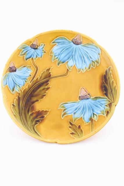 antique majolica pottery plate, blue coneflower daisy on mustard yellow gold